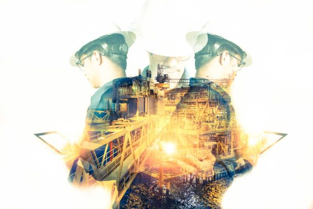 double exposure of engineer or technician man with safety helmet or