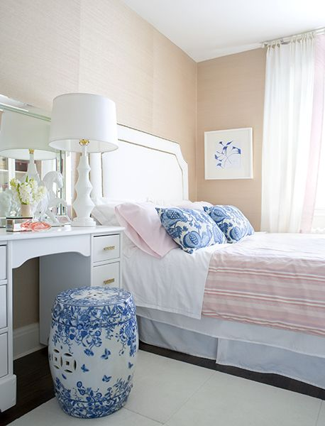 The touches of blue set off the pink and white perfectly! By Samantha Pynn: Decor, Guest Room, Interior, Idea, Garden Stools, Color, Guest Bedroom, Bedrooms, Blue And White