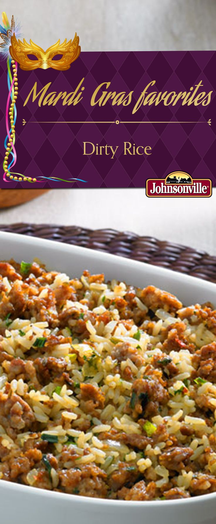 This Dirty Rice made with Johnsonville Hot Italian Sausage is the perfect addition to your Fat Tuesday Celebration!