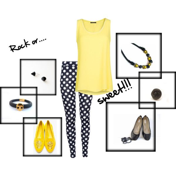 """""""Black and yellow"""" by pinezajewelry on Polyvore    earrings by www.etsy.com/shop/Akamatra    bracelet by www.etsy.com/shop/pinezajewelry  ballet flats by www.etsy.com/shop/Erinbonnie  ring by http://www.etsy.com/shop/EfZinCreations  necklace by http://www.etsy.com/shop/HunkiiDorii    top by www.mangoshop.com    leggings by H"""