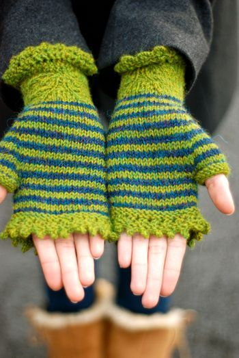 """""""Warms my heart & my hands - these fingerless gloves are delightful in shades of green stripes #accessories"""""""