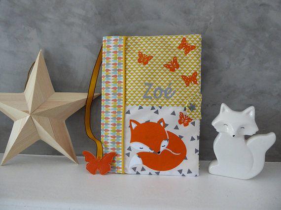 Protege Carnet De Sante Personnalise Renard Et Papillons Tissu Jaune Et Blanc Et Son Marque Page Papillon Etsy Home Decor Decor