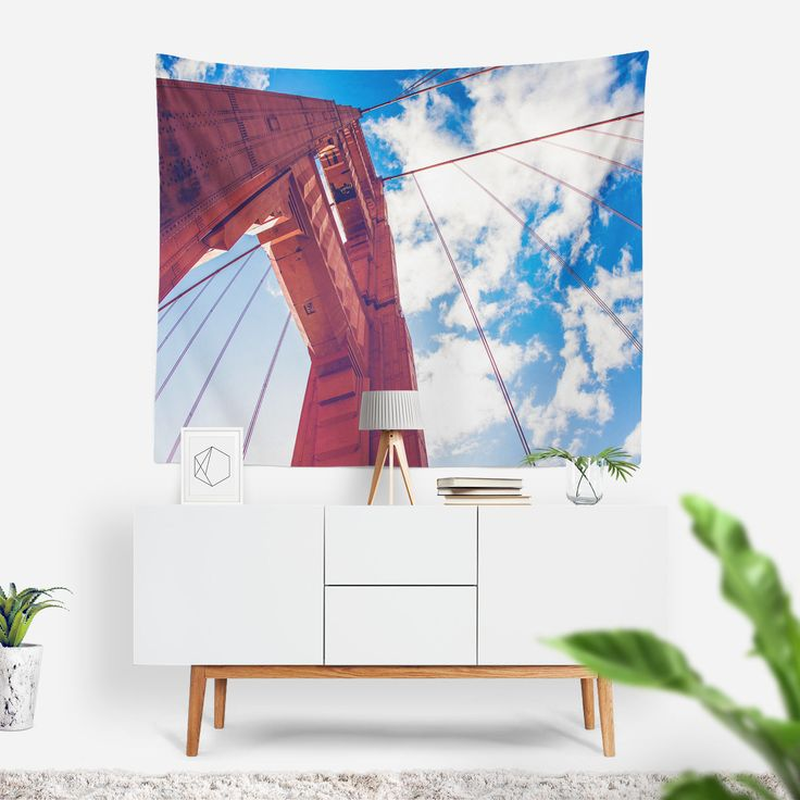 Golden Gate Bridge Wall Tapestry | Wall Hanging | Clouds | Photo Tapestry | Travel Photography | San Francisco | Famous Landmark | Wall Art
