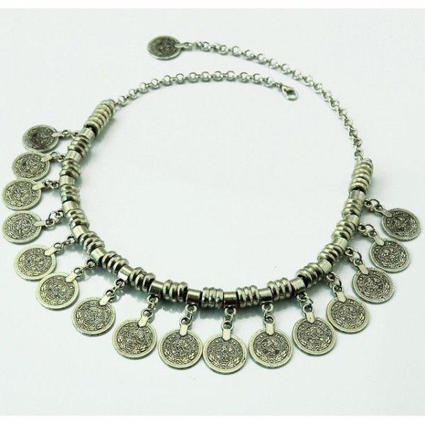 strieborný  etno náhrdelník  48 cm