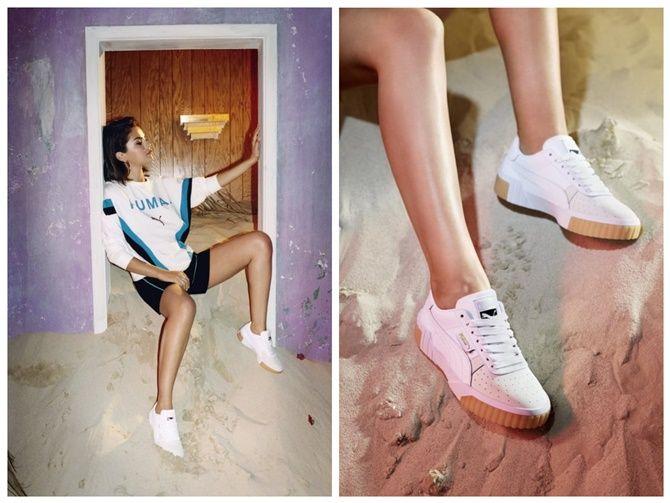 Keren Gaya Selena Gomez Pakai Sneakers Puma Putih Rp 1 Jutaan