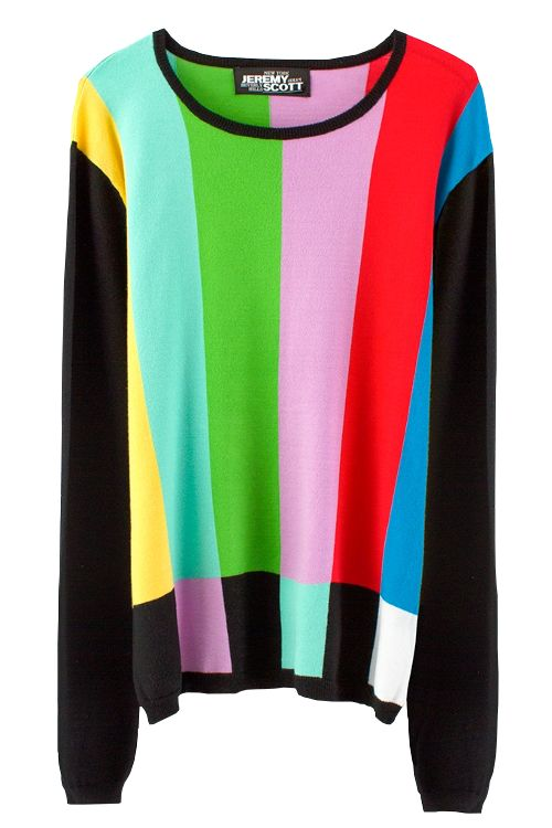 TV color bar jumper by Jeremy Scott                                                                                                                                                     More