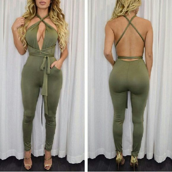 Army green sexy bodycon jumpsuit romper not bebe Brand new! Will be available in wine and black as well. Soft smooth fabric and is very comfortable. Available in S,M,L bebe Dresses Mini