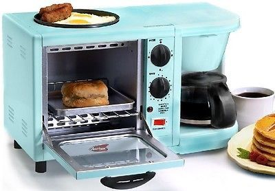 3-in-1 Multifunction Breakfast Station 4-Cup Coffee Maker Toaster Egg Ovens Blue