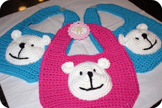 Polar Bear Cotton Baby Bib by knitbabylady on Etsy, $12.99