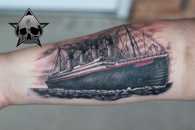 This was definitely a cool, #interesting #tattoo to do. Can't wait to get some healed pictures of it #titanic #art #tattoo #tattooart #ct #guardianartgallery #gallery#artoftheday #artists #artlife #angelcaban #IntenzePride #painfulpleasures  #supportartist #blackandgreyinksociety #tattoosofinstagram #fearless #breathe #canon #photography