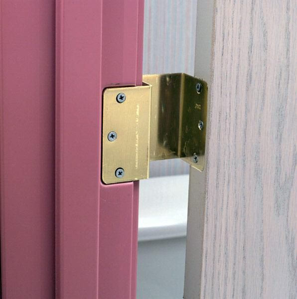 Hinge makes doorways wider for wheelchairs! No need to take off doors to move wheelchairs in your house. Just install these hinges in your existing door and frame.
