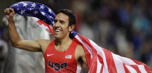 Leo Manzano celebrates coming second in the 1500m. final at London 2016