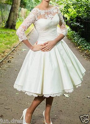 Short 3 4 Sleeve Wedding Dresses Vintage Tea Length White Ivory Lace Bridal Gown