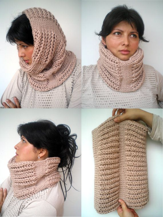 Natural Beige J Cozy Cowl Super Soft Wool by GiuliaKnit on Etsy (gauge changes?)