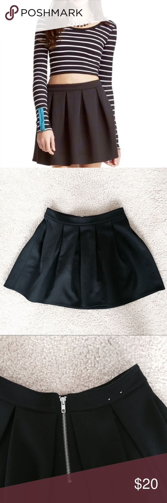 """NWOT Bethany Mota Black Pleated A-line Skirt - a-line high waisted, cotton black skirt perfect to wear with any top in the world!  - size labeled as MEDIUM best fit for waist 26""""- 27"""" Aeropostale Skirts A-Line or Full"""