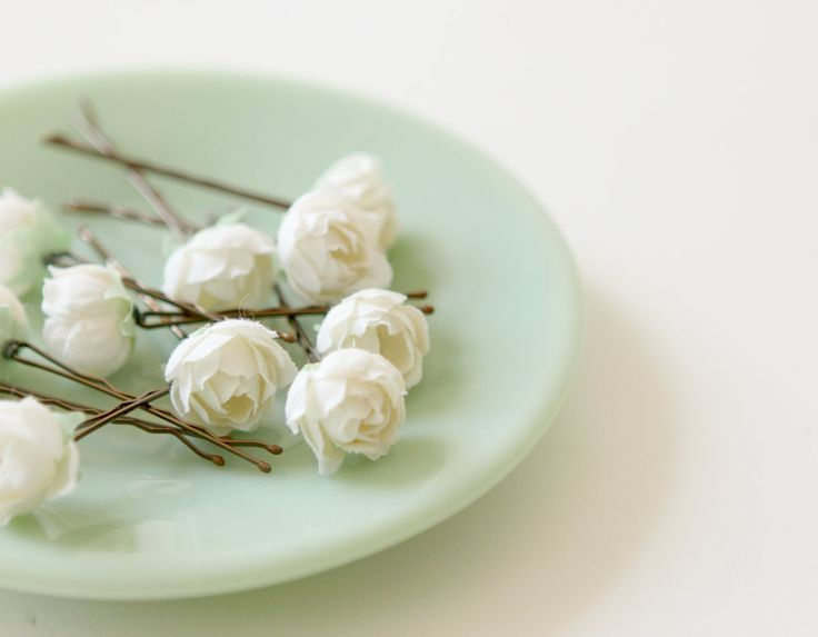Bridal hair clips, Wedding flower pins, Ivory rose bobby pins - PEMBERLEY - set of five. $20.00, via Etsy.