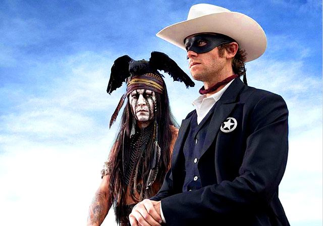 Johnny Depp playing Tonto in the Lone Ranger movie