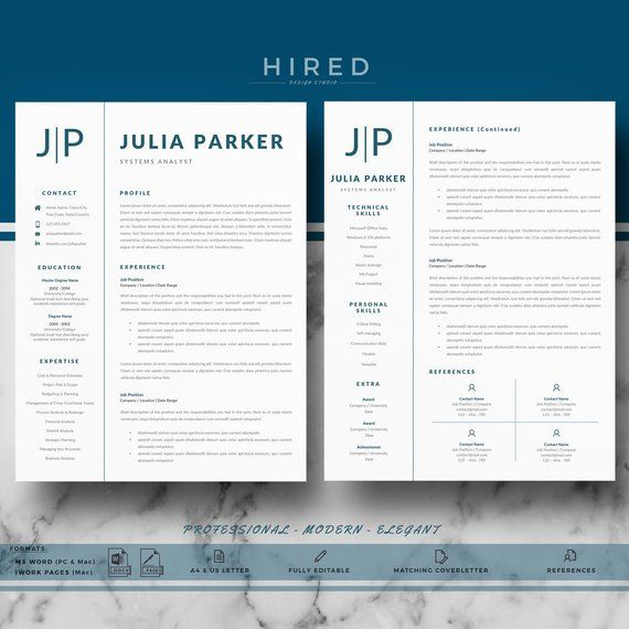 Professional Resume Cv Templates For Ms Word Pages Modern Etsy Marketing Resume Cover Letter For Resume Resume Template Professional