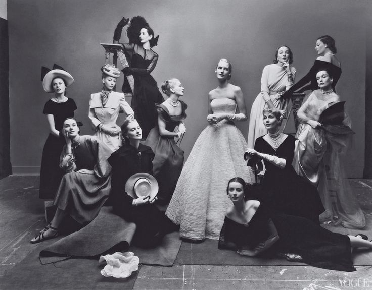 "Vogue, May 1, 1947  One of Irving Penn\'s most famous tableaux, often referred to as ""The Twelve Beauties.\"" At this sitting Penn first fell in love with wife-to-be Lisa Fonssagrives, sixth from left."