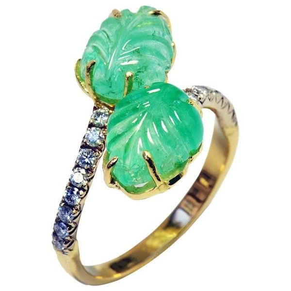 Engraved Emeralds Leaves, Diamonds, 18 K Gold Ring Created By Marion... ($2,929) ❤ liked on Polyvore featuring jewelry, rings, multiple, engraved gold rings, engraved charms, gold leaf ring, engraved rings and leaf rings