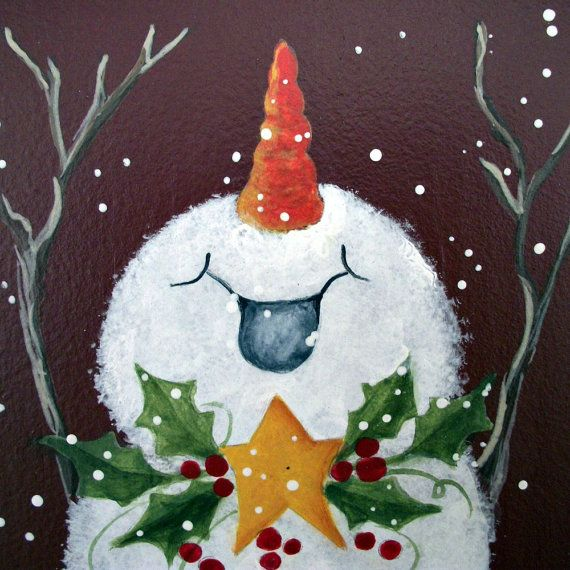 Joyful snowman handpainted Christmas art wall by holidayhijinks