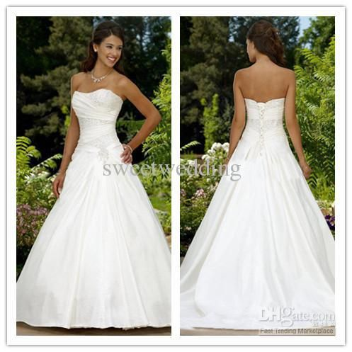Custom Made 2011 Sexy Modest A Line Strapless Court Train Taffeta Beaded Corset  Wedding Dresses Gowns