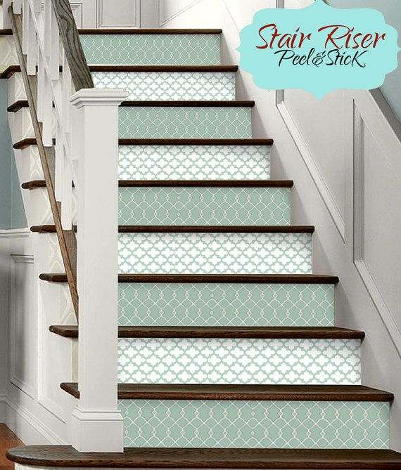 15pc stair riser vinyl strips removable sticker peel stick f6073a green morrocan escalera. Black Bedroom Furniture Sets. Home Design Ideas