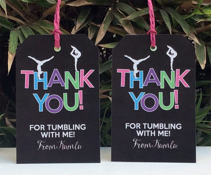 Gymnastics Birthday Party Favor Tags | Editable DIY Templates
