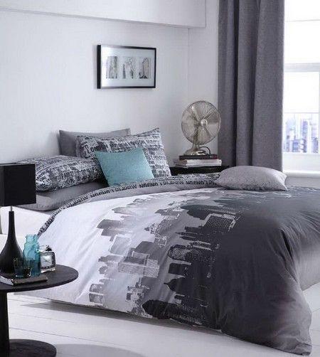 City Scape Blue Black Monochrome Urban Duvet Quilt Cover Bedding Sets Single Double King | eBay