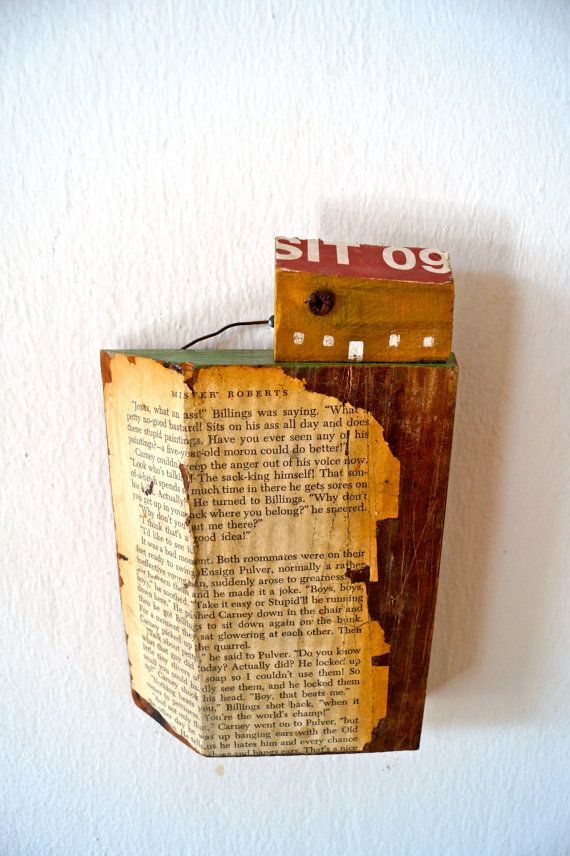 Original mixed media wall decoration, made of reclaimed wood. House on a thick wooden ground is a rustic wall hanging of little wooden house in