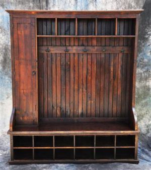 Large Mudroom or entryway reclaimed wood bench with door and hooks!-Reclaimed, wood, French, pine, walnut, mahogany, vintage, shabby, chic, mudroom, bench, entryway, organizer, storage, coat, rack, barnwood