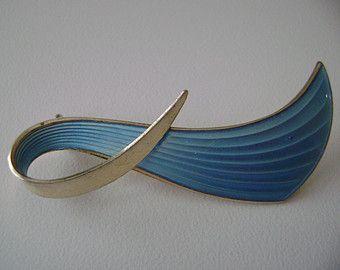 Vintage Sterling Silver Norway Albert Scharning baby Blue Enamel Brooch or pin 925