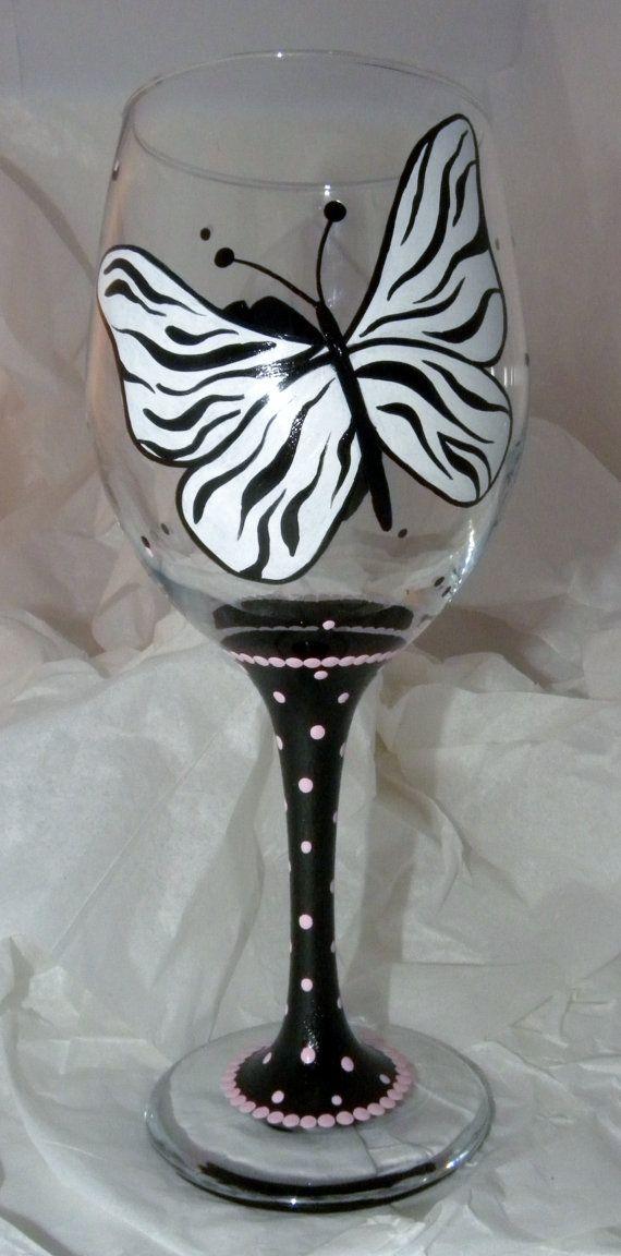 Zebra Butterfly Wine Glass Style 3 by GranArt on Etsy, $20.00