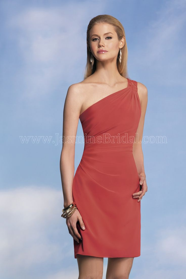 Jasmine Bridal Bridesmaid Dress Jasmine Bridesmaids Style P176006K in Coral. A sexy and modern bridesmaid dress for occasions of a higher standard. The dress features a one shoulder neckline and mini length sheath skirt for a very flattering figure and seductive silhouette.