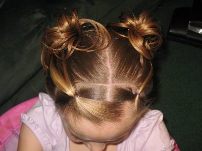 wispy buns on little girls, see how-to at kennydos.blogspot.com