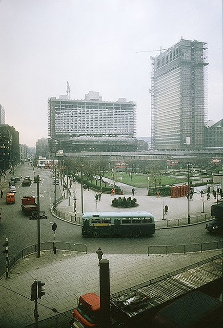 View of Piccadilly from Piccadilly House (55 Piccadilly), Manchester, England, United Kingdom, 1964, photographer unknown.