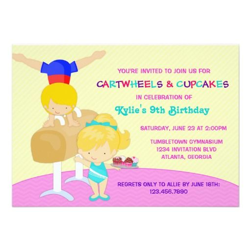 437 best cupcake birthday party invitations images on pinterest cartwheels and cupcakes gymnastics birthday party card stopboris Image collections