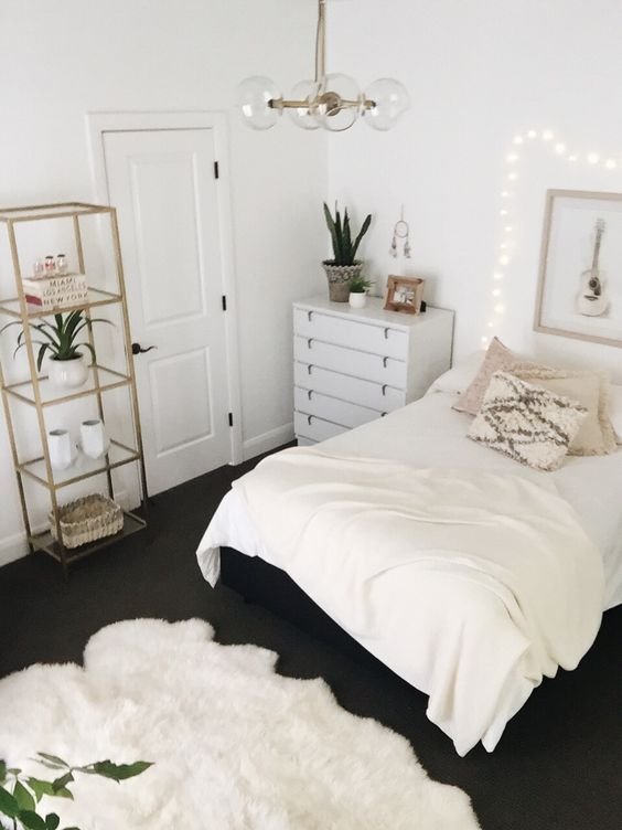 white bedroom great gold shelves and globe light fixture - White Bedroom Decorating Ideas