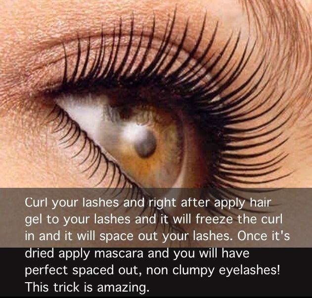 Using hair gel to keep your eyelashes curled and separated before applying mascara...This is interesting