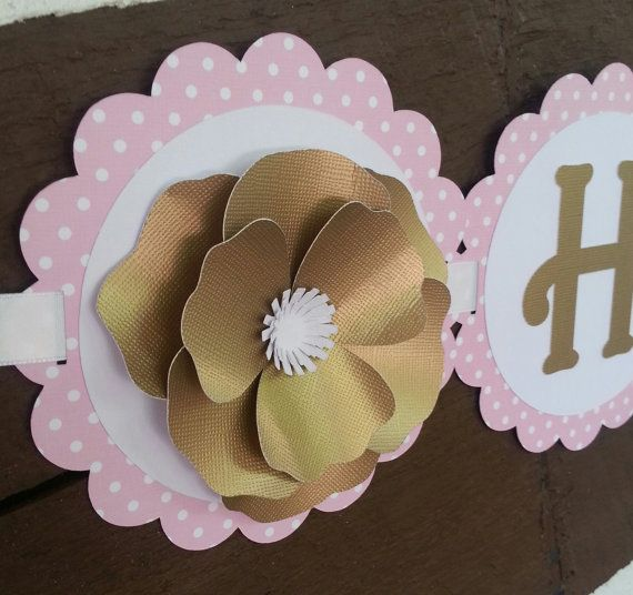 Elegant Pink and Gold Happy Birthday Banner by Kirascollection