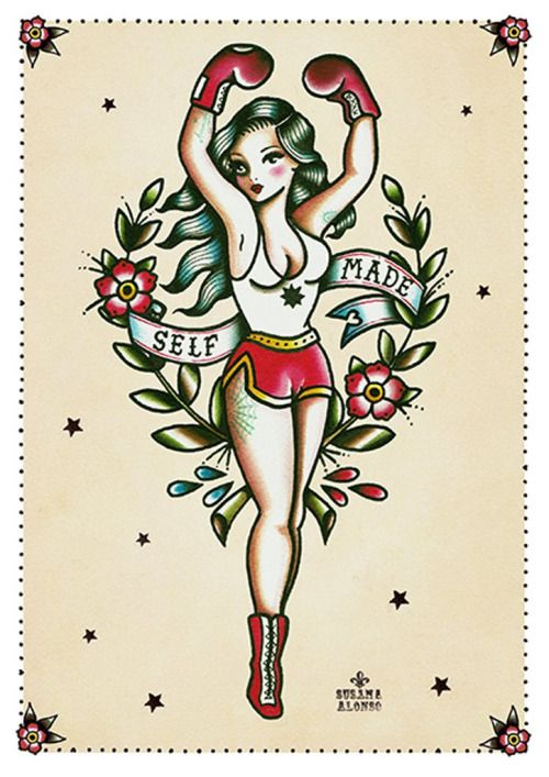 Self Made by Susana Alonso Boxing Gloves Girl Tattoo Canvas...