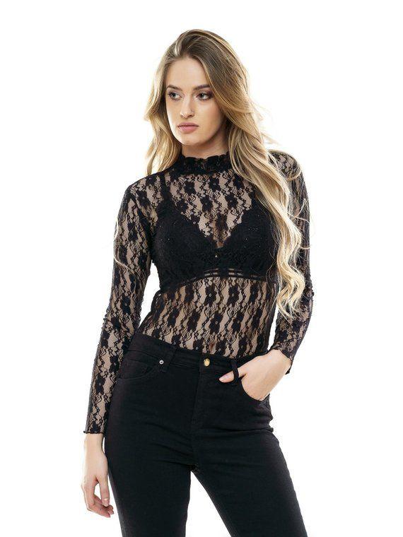 Bikini Leotard Fine Lace Body Suit Women Top Blouse Luxury Lingerie Black Bodysuit Long Sleeve Turtleneck Cotton Bodie