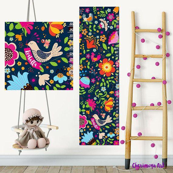 Personalized Nursery Decor Flowers Growth Chart Kids Height Chart Kids Growth Chart Wall Growth Chart Wall Height Chart Growth Chart Decal
