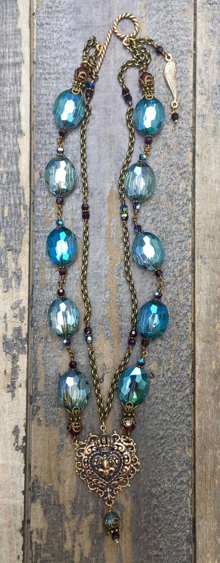 Blau mit Granat Kristall Halskette | Etsy   – Jewlrey Girl