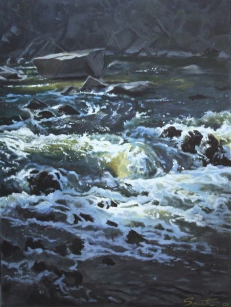 Still Rocks/ Rushing Water, Billywillinga  2008  Acrylic on canvas  100x75cm