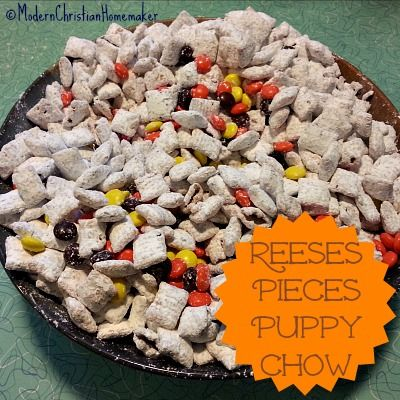 "Reeses Pieces Puppy Chow..Wait, What? You read that right.  Reeses Pieces Puppy Chow.  The first time someone brought Puppy Chow in for a snack where I worked, I thought they were insane. They even went so far as to serve it in a clean dog food bowl.  It was a cute touch, but weird.  But I should have expected as much from someone who brought in a flower pot full of a wondrous dessert she called ""Dirt"".  Puppy Chow  {Read More}"