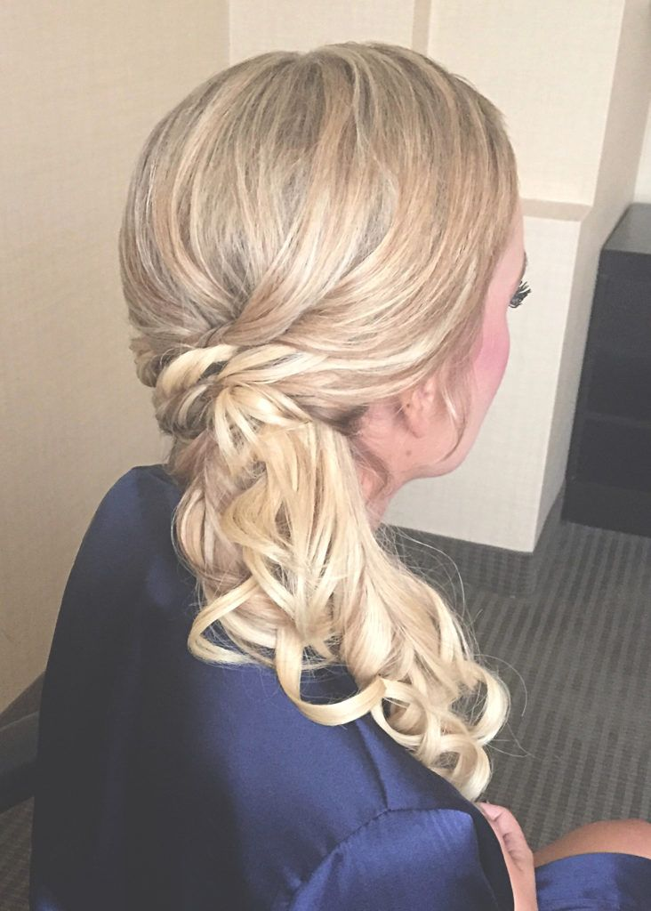 Blonde Bridesmaid Side Ponytail | Fine Hair Wedding Hairstyle | Cherry Blossom Belle