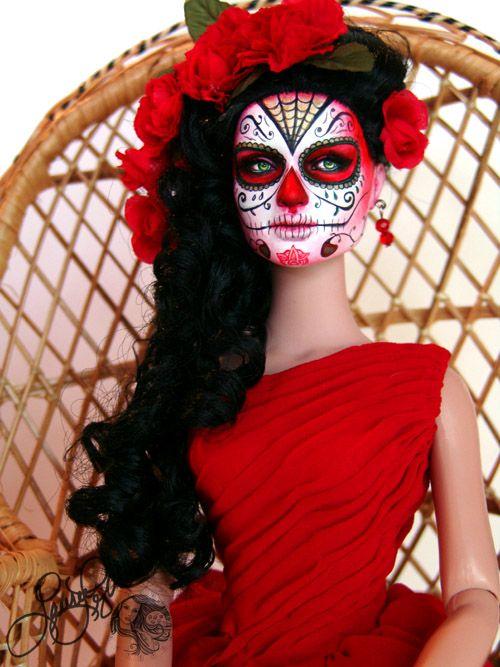 "Sugar Skull ""Rojo"" Doll  second base for the flamingo dancer"