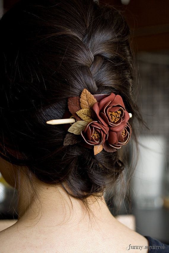 Leather hair stick barrette hair slide hair pin by MyFunnySquirrel
