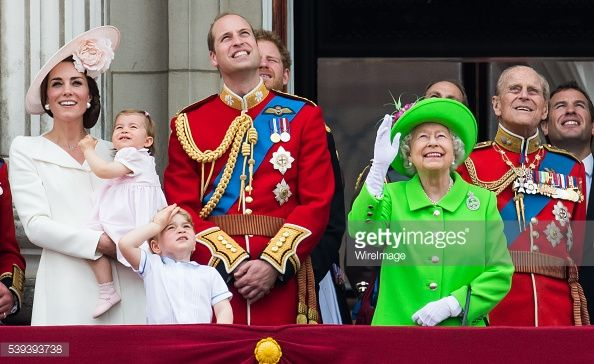 Catherine, Duchess of Cambridge, Princess Charlotte, Prince George, Prince William, Duke of Cambridge, Queen Elizabeth II and Prince Philip, Duke of Edinburgh stand on the balcony during the Trooping...